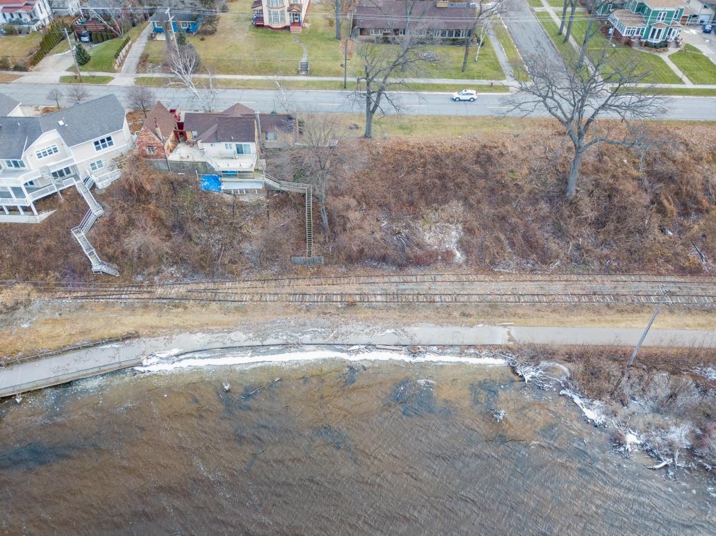 Muskegon Lakeshore Trail erosion damage drone photo