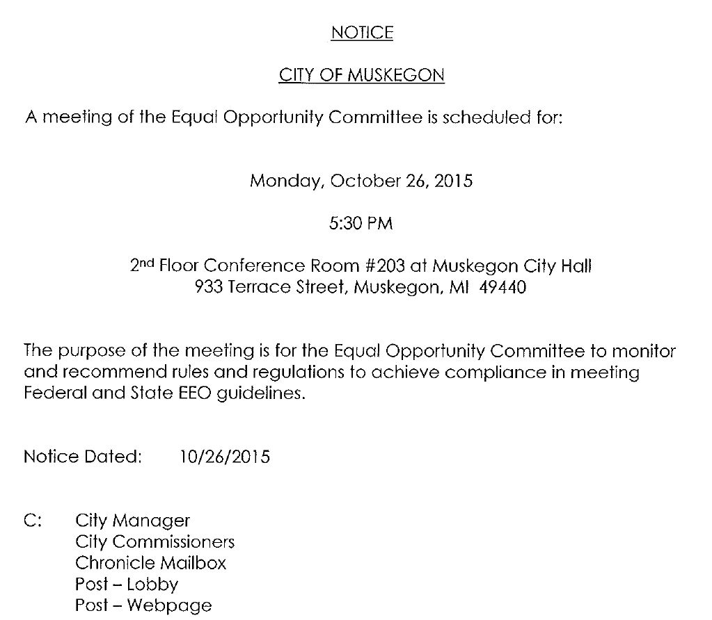Equal Opportunity Committee Meeting