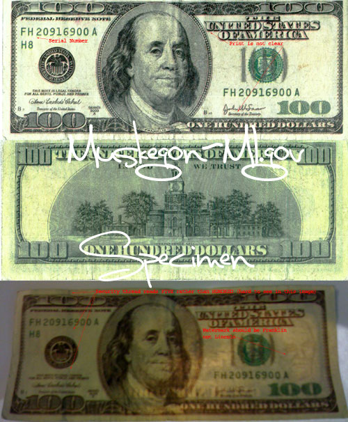 Counterfeit 100 Bill Warning