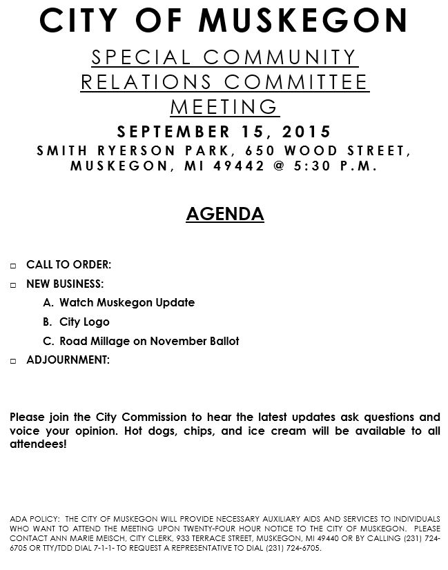 Sept 15, 2015 Special Community Relations Committee Meeting