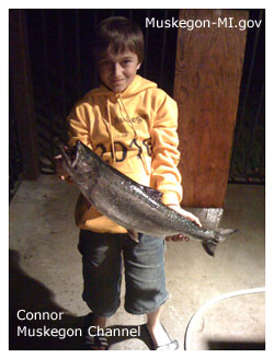 Salmon caught by Conner in Muskegon